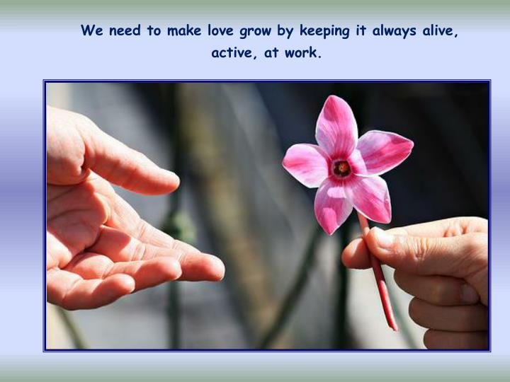 We need to make love grow by keeping it always alive, active, at work.