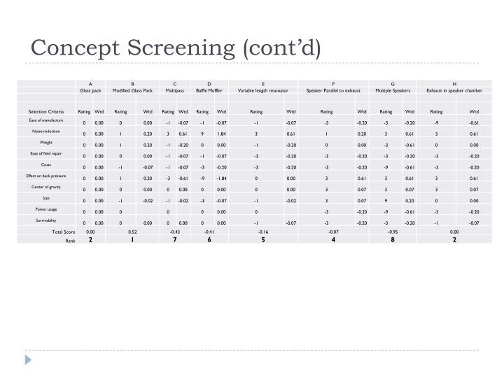 Concept Screening (cont'd)