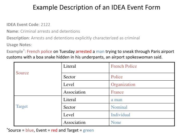 Example Description of an IDEA Event Form