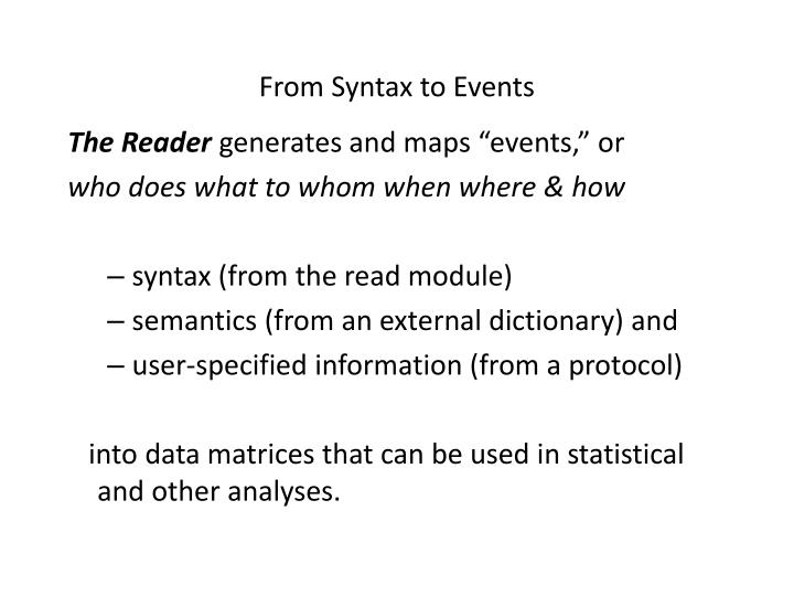 From Syntax to Events