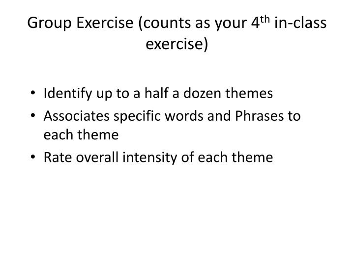 Group Exercise (counts as your 4