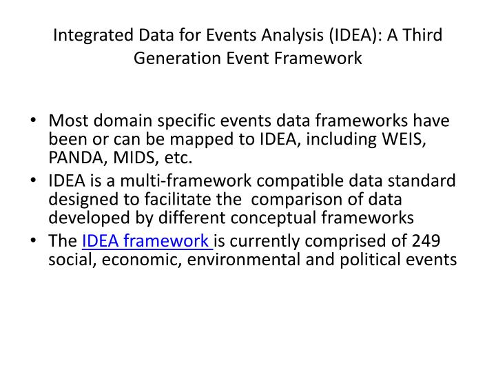 Integrated Data for Events Analysis (IDEA): A Third Generation Event Framework