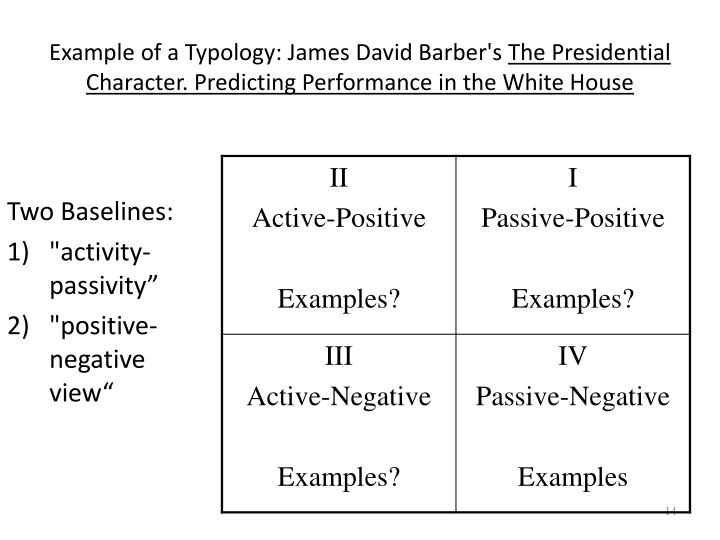 Example of a Typology: James David Barber's
