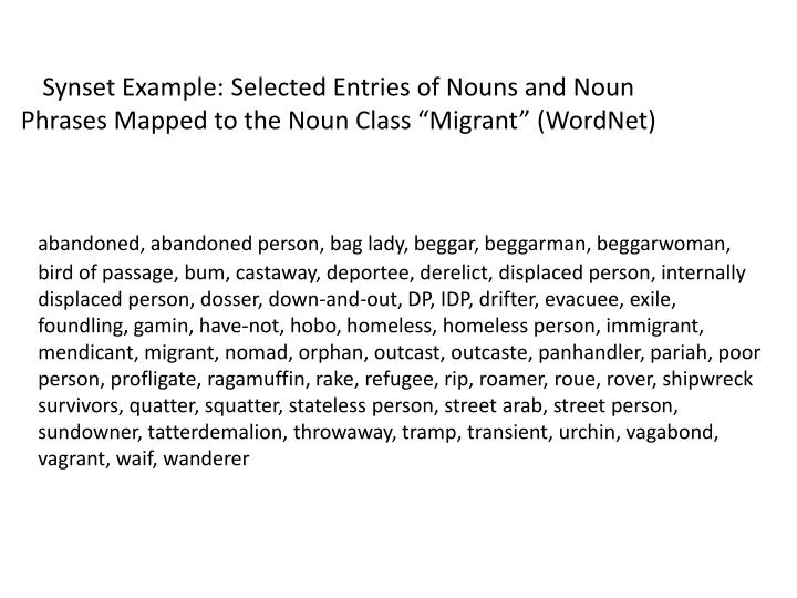 """Synset Example: Selected Entries of Nouns and Noun Phrases Mapped to the Noun Class """"Migrant"""" (WordNet)"""