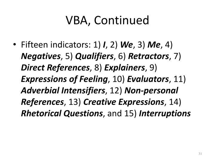 VBA, Continued