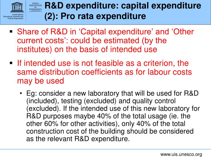 R&D expenditure: capital expenditure (2): Pro rata expenditure