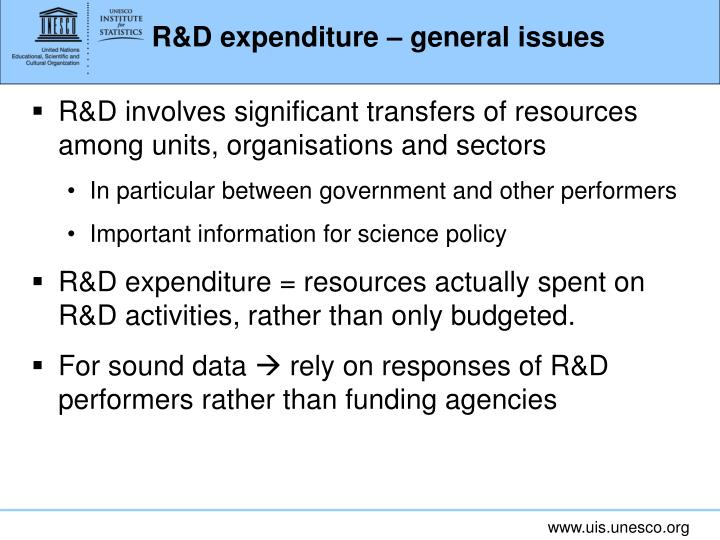 R&D expenditure – general issues