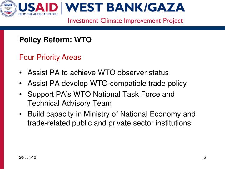 Policy Reform: WTO
