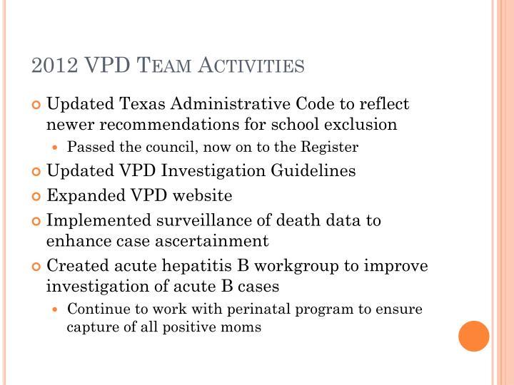 2012 VPD Team Activities