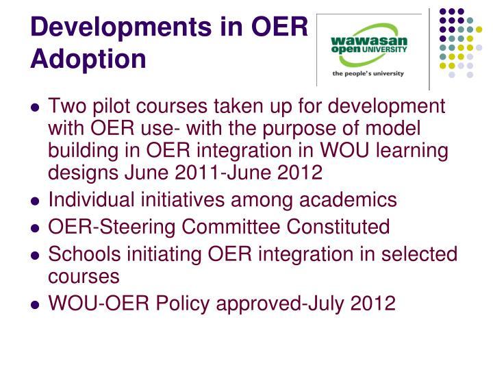 Developments in OER Adoption