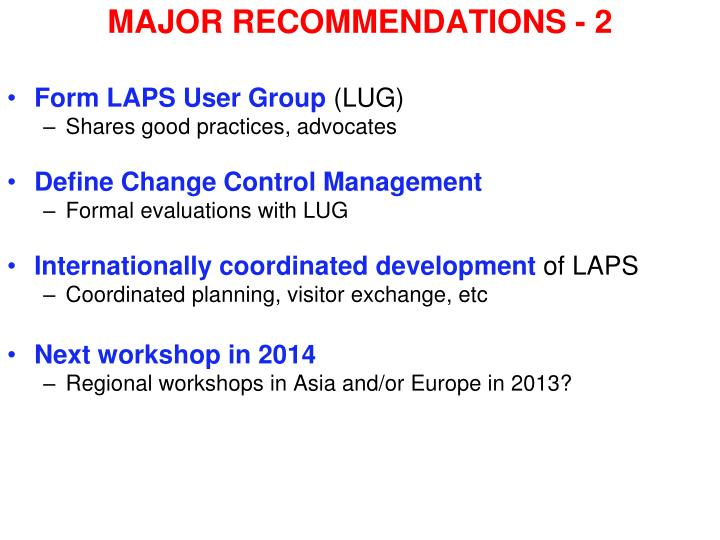 MAJOR RECOMMENDATIONS - 2