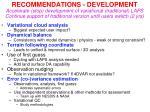 recommendations development