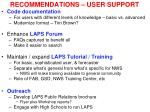 recommendations user support