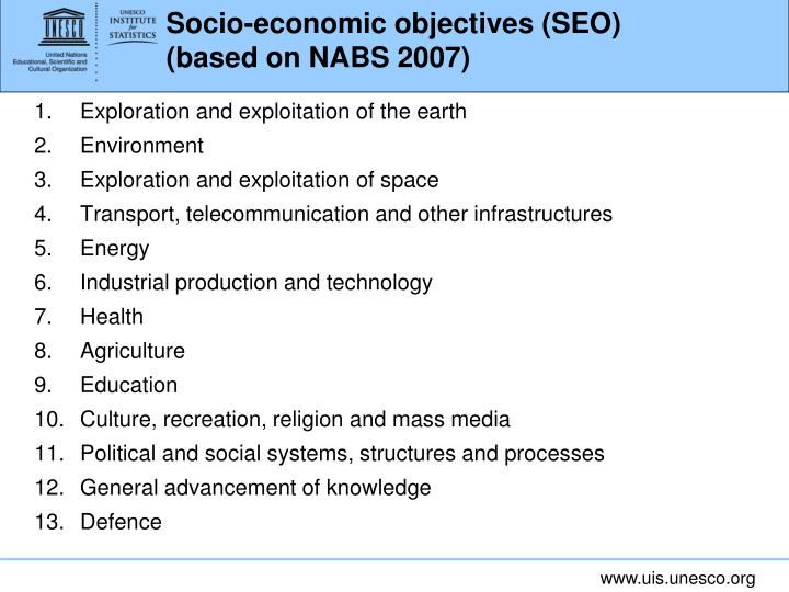 Socio-economic objectives (