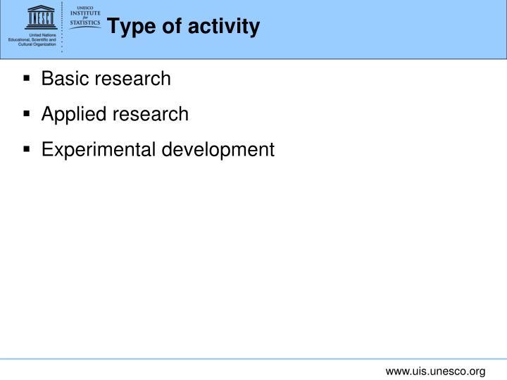 Type of activity