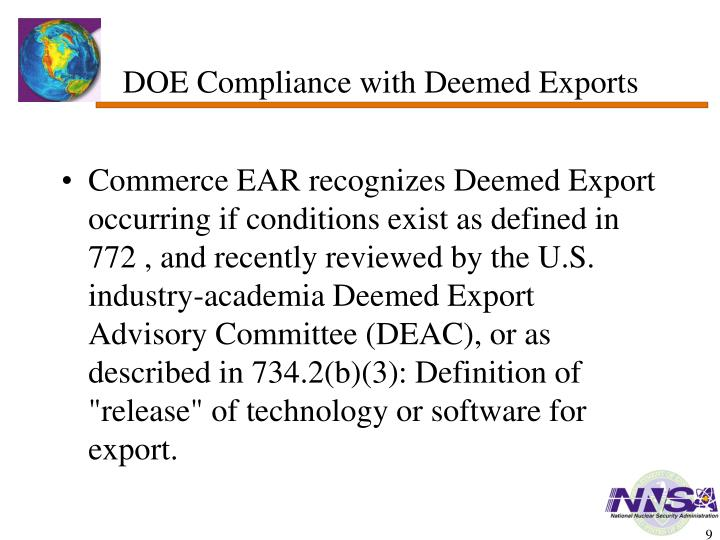 DOE Compliance with Deemed Exports