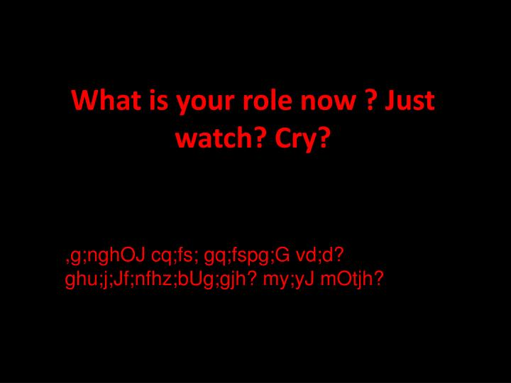 What is your role now ? Just watch? Cry?