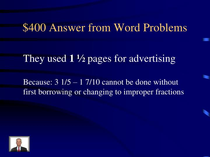 $400 Answer from Word Problems