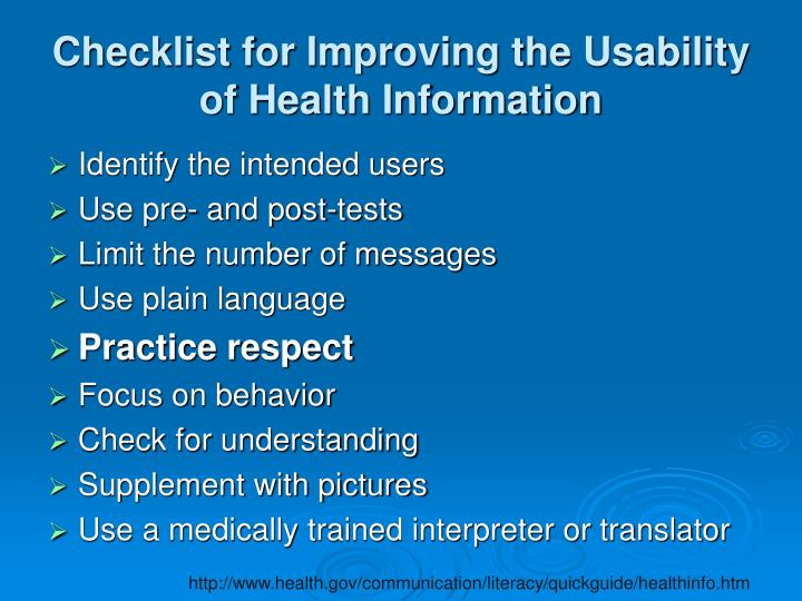 Checklist for Improving the Usability of Health Information