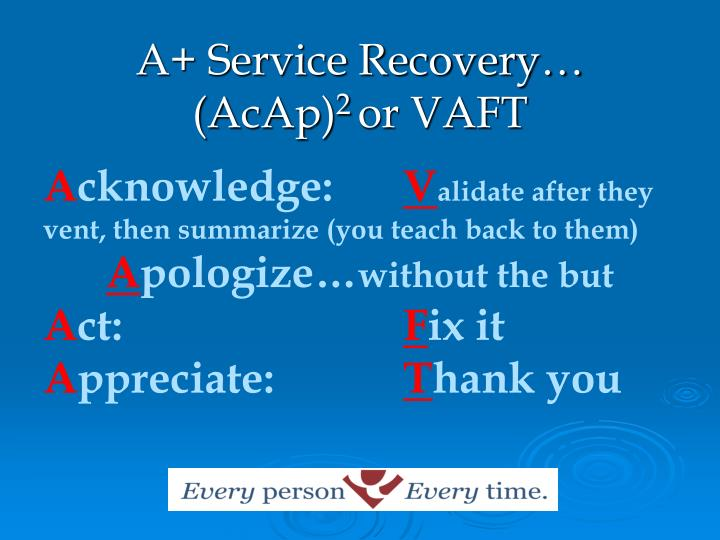 A+ Service Recovery…