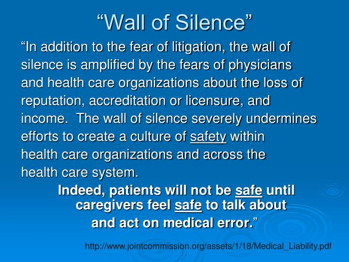 """Wall of Silence"""