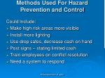methods used for hazard prevention and control