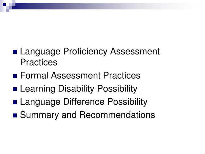 Language Proficiency Assessment Practices
