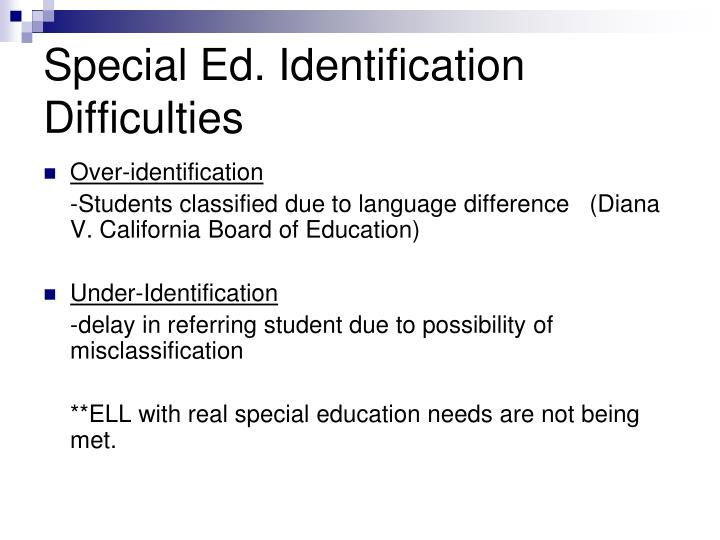 Special Ed. Identification Difficulties