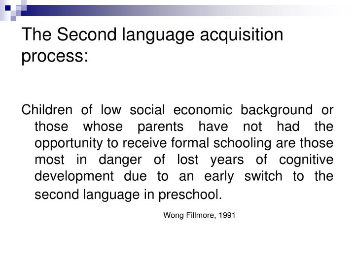 The Second language acquisition process: