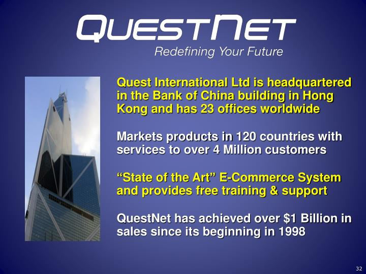 Quest International Ltd is headquartered in the Bank of China building in Hong Kong and has 23 offices worldwide