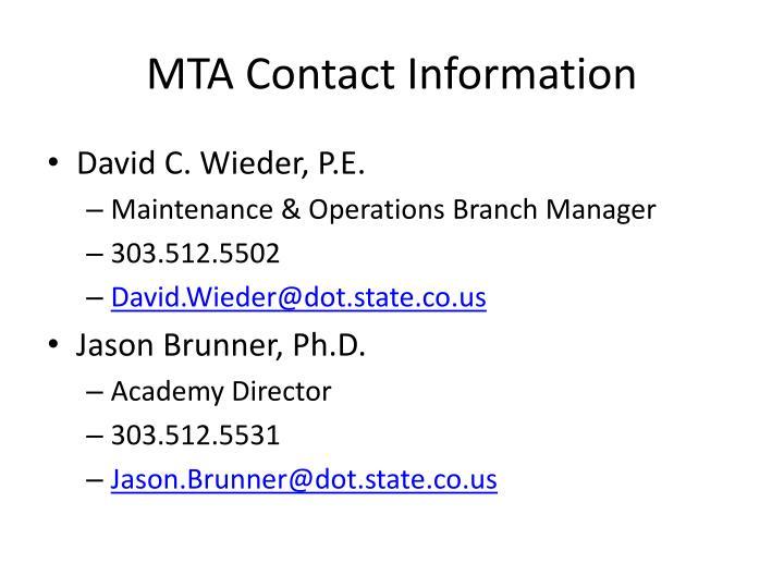 MTA Contact Information