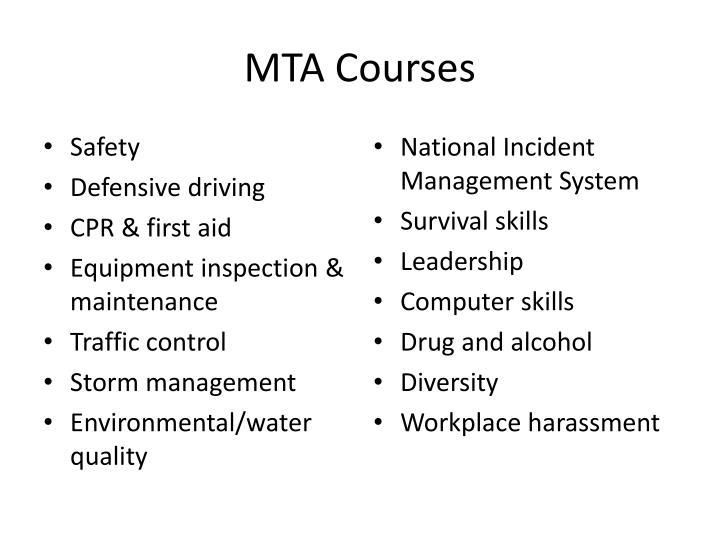 MTA Courses