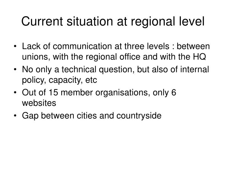 Current situation at regional level