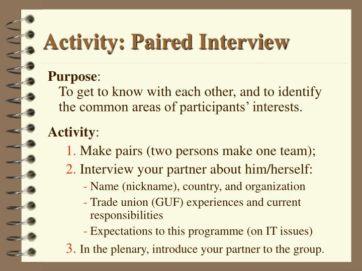 Activity: Paired Interview