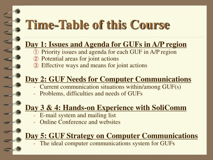 Time-Table of this Course