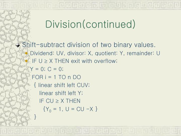 Division(continued)