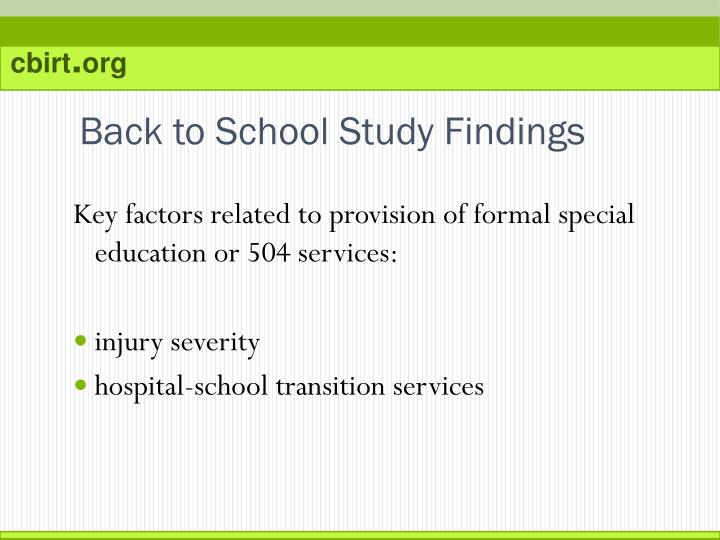 Back to School Study Findings