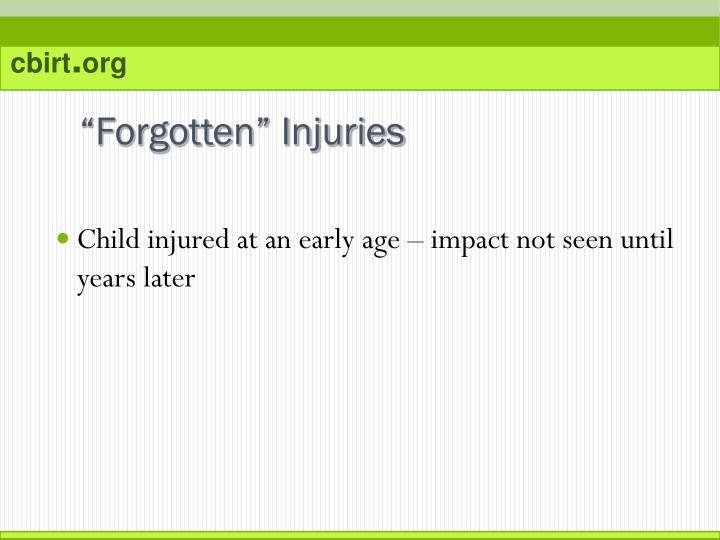 """""""Forgotten"""" Injuries"""