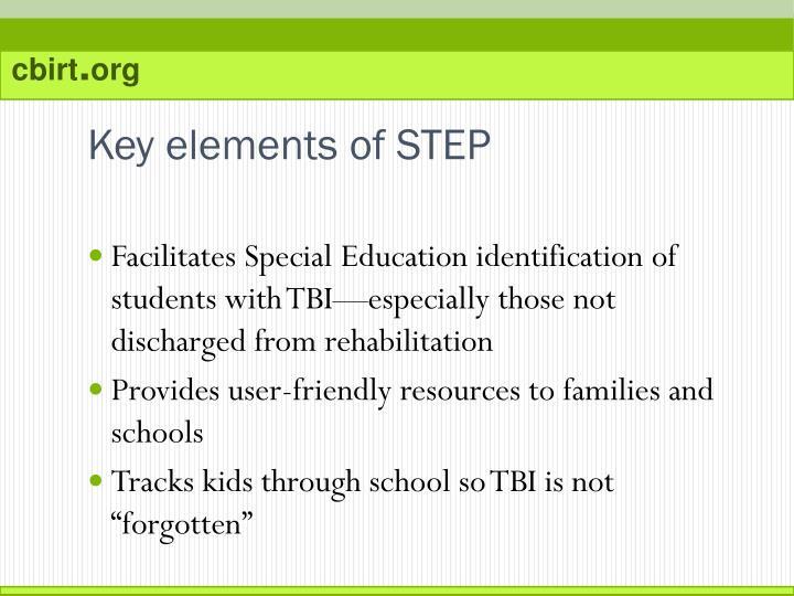 Key elements of STEP