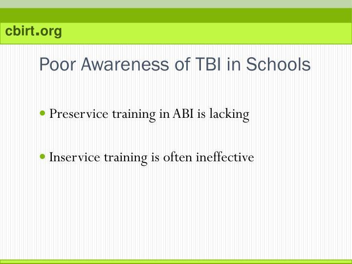 Poor Awareness of TBI in Schools