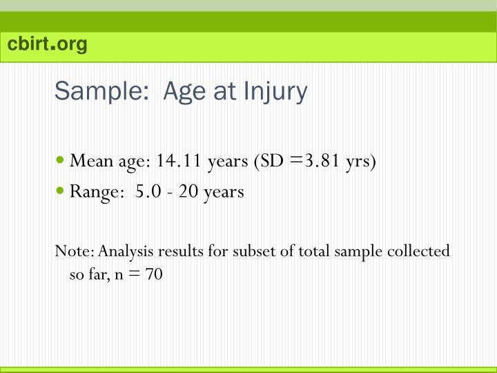 Sample:  Age at Injury