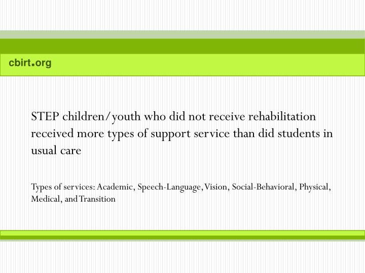 STEP children/youth who did not receive rehabilitation received more types of support service than did students in usual care