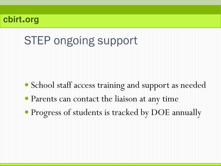 STEP ongoing support