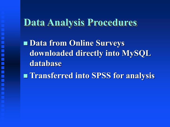 Data Analysis Procedures