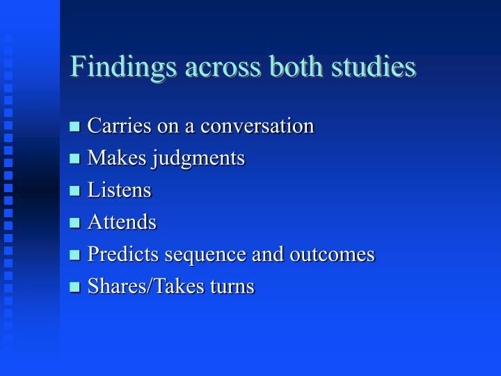 Findings across both studies