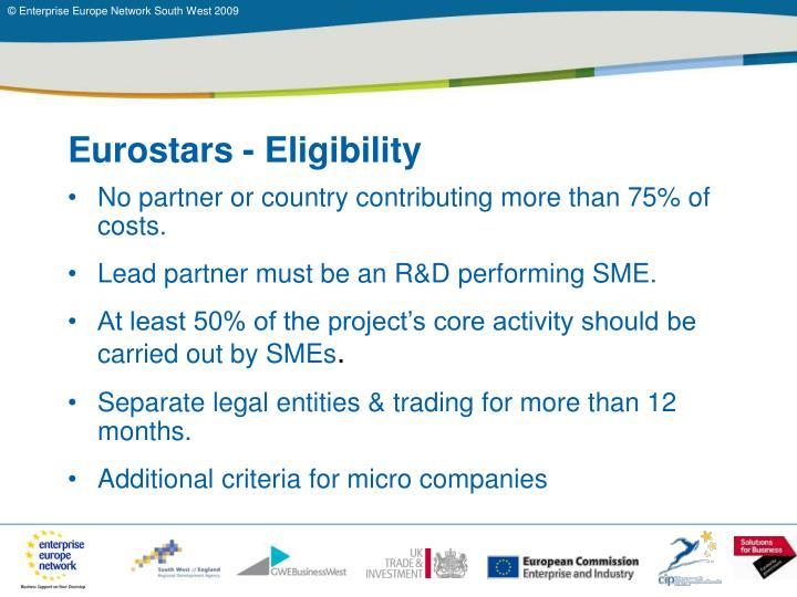 Eurostars - Eligibility