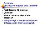 reading standard english and dialects