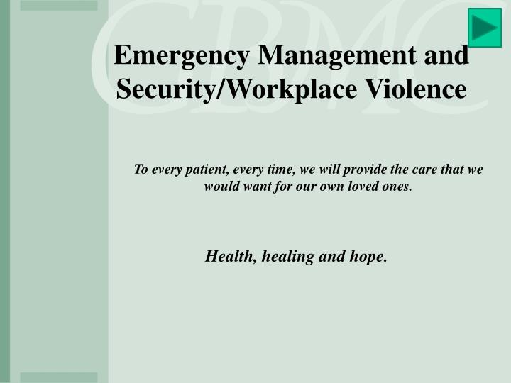 Emergency Management and