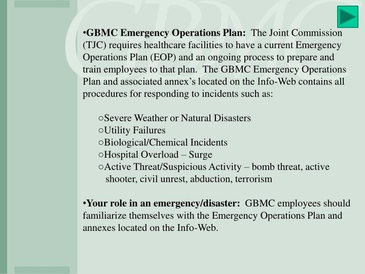GBMC Emergency Operations Plan: