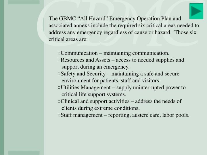 """The GBMC """"All Hazard"""" Emergency Operation Plan and associated"""